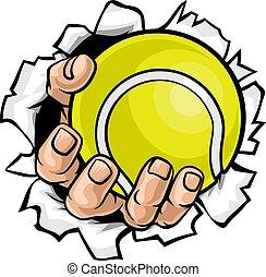 piłka, tenis, płakanie, tło, ręka