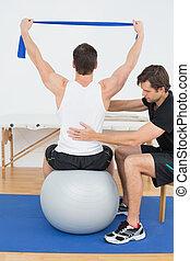 piłka, yoga, pracujący, terapeuta, fizyczny, człowiek