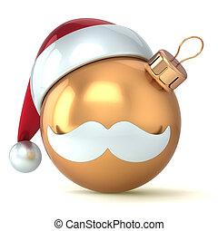 piłka, złoty, rok, nowy, boże narodzenie, szczęśliwy