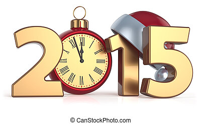 piłka, zegar, alarm, rok, 2015, nowy, boże narodzenie, szczęśliwy