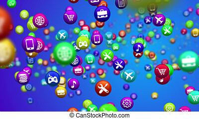 piłki, barwny, media, przędzenie, towarzyski, nowość