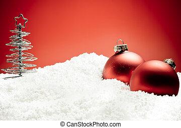 piłki, drzewo, śnieg, ozdoba, boże narodzenie, czerwony