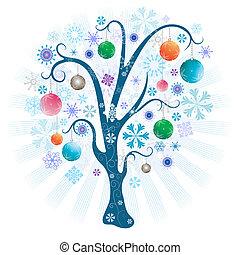 piłki, drzewo, boże narodzenie