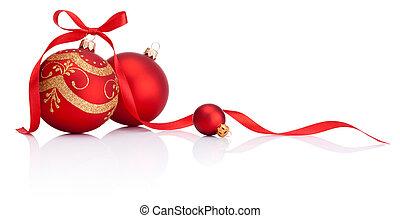 piłki, odizolowany, łuk, ozdoba, wstążka, tło, białe boże narodzenie, czerwony