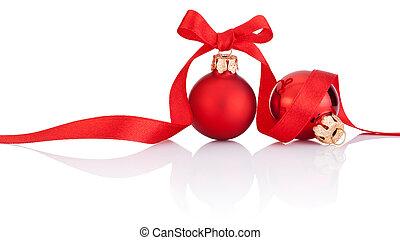 piłki, odizolowany, wstążka, łuk, dwa, tło, białe boże narodzenie, czerwony