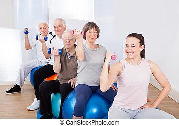 piłki, zaludniać posiedzenie, ręka, znowu, ciężary, stosowność, używając
