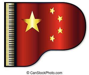 piano, bandera, chińczyk, wielki