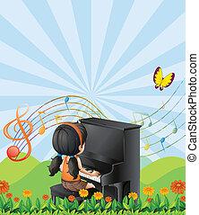 piano, górki, dziewczyna, interpretacja