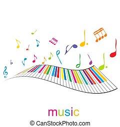 piano, muzyka, klawiatura, afisz, notatki