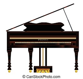 piano, stary, wielki