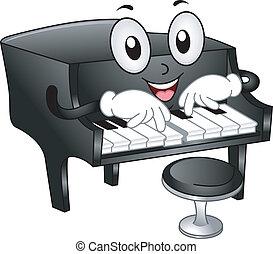 piano, wielki, maskotka