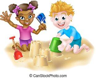piasek, grający dziećmi