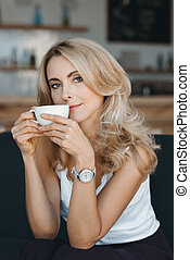 picie, kobieta, kawa