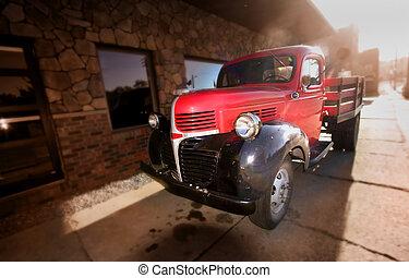 pickup, stary, czerwony