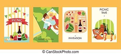 picnoc, na wolnym powietrzu, bread, tomatoes., ilustration., para, czas, waiting., jadło, śliczny, accessories., watermalon, wektor, rest., lato, zaproszenie, wino, piknik, ma, bilety, bootle