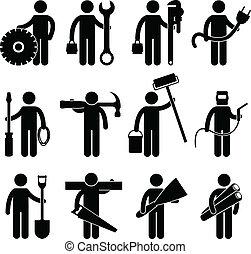 pictog, praca, budowlaniec, ikona