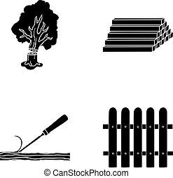 pień, symbol, drewno, wektor, zbiór, kloce, fence., dłuto, budulec, czarnoskóry, styl, ikony, komplet, web., ilustracja, stóg, graty