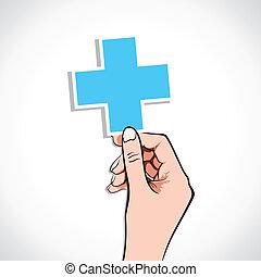 pień, znak, medyczny, ręka, krzyż