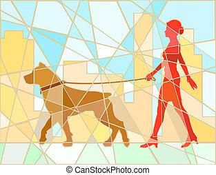 piechur, pies, mozaika