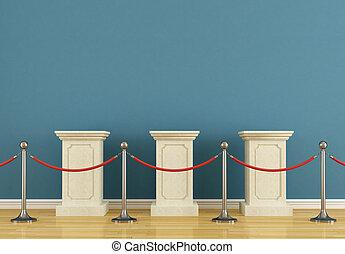 piedestał, błękitny, muzeum