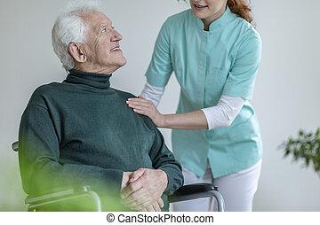pielęgnacja, dom, wheelchair, mówiąc, człowiek, caregiver, szczęśliwy