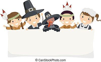 pielgrzym, chorągiew, stickman, dzieciaki, dziękczynienie
