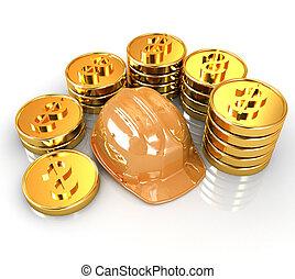 pieniądz, złoty, tło, ctack, kapelusz, dookoła, twardy, biały