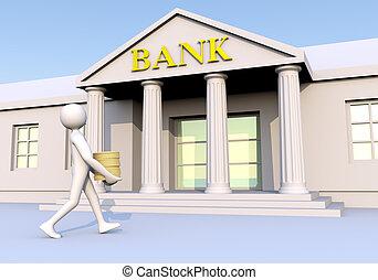 pieniądze, 2, &, bank, człowiek