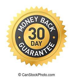 pieniądze, 30, wstecz, etykieta, dzień, gwarantować