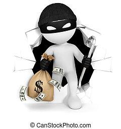 pieniądze, biały, 3d, złodziej, ludzie