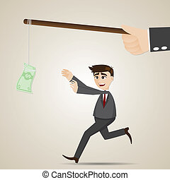 pieniądze, biznesmen, rysunek, kuszący