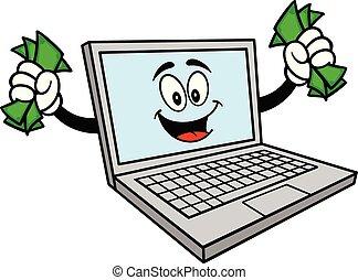 pieniądze, komputer, maskotka