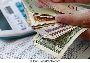 pieniądze, odliczający