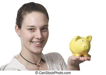 pieniądze, ratuje, dziewczę