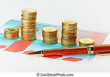 pieniądze., wykres, ognisko, pióro, selekcyjny, wielobarwny, stogi
