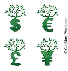 pieniądze, wzrost, drzewo, albo, lokata