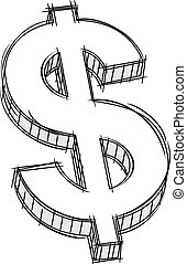 pieniądze, znak, doodle