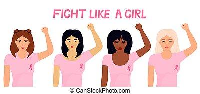 pierś, fists., grupa, rak, multiethnic, krajowy, wstążka, podobny, month., ich, dziewczyna, walka, kobiety, podniesiony, chorągiew, różowy, świadomość