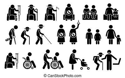 pierwszeństwo, need., siedzenia, seatings, ludzie