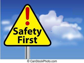 pierwszy, bezpieczeństwo, znak