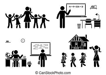 pierwszy, student, biurko, rodzic, dzieciaki, nauczyciel, figura, dzieci, dzień, ikona, pictogram., nauczanie, posiedzenie, chalkboard, wtykać, komplet, wstecz, pisanie, wektor, szkoła