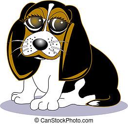 pies gończy, sztuka, pies, zacisk, rysunek