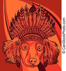 pies, ilustracja, indianin, wektor, kapelusz, tradycyjny, głowa