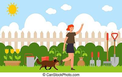 pies, kobieta, ogród, pieszy, jej