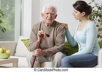 piesza pałka, starszy człowiek