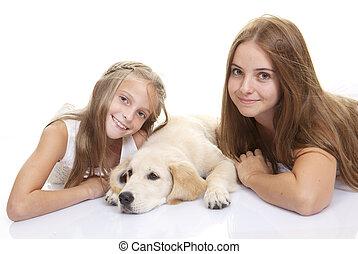 pieszczoch, dzieciaki, pies, rodzina