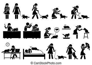 pieszczoch, pers, figury., wtykać, kot, kobieta