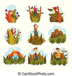 pieszy, adults, ludzie, komplet, natura, przeciw, dzieci, wektor, las, rysunek, zasłona
