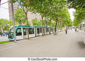 pieszy, aleja, ludzie, może, 31, praca, -, przekątny, rano, tramwaj, barcelona, hiszpania, 31, chwilowy, hiszpania, 2013