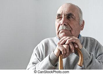 pieszy, emerytowany, haired, szary, starszy, wtykać człowieka